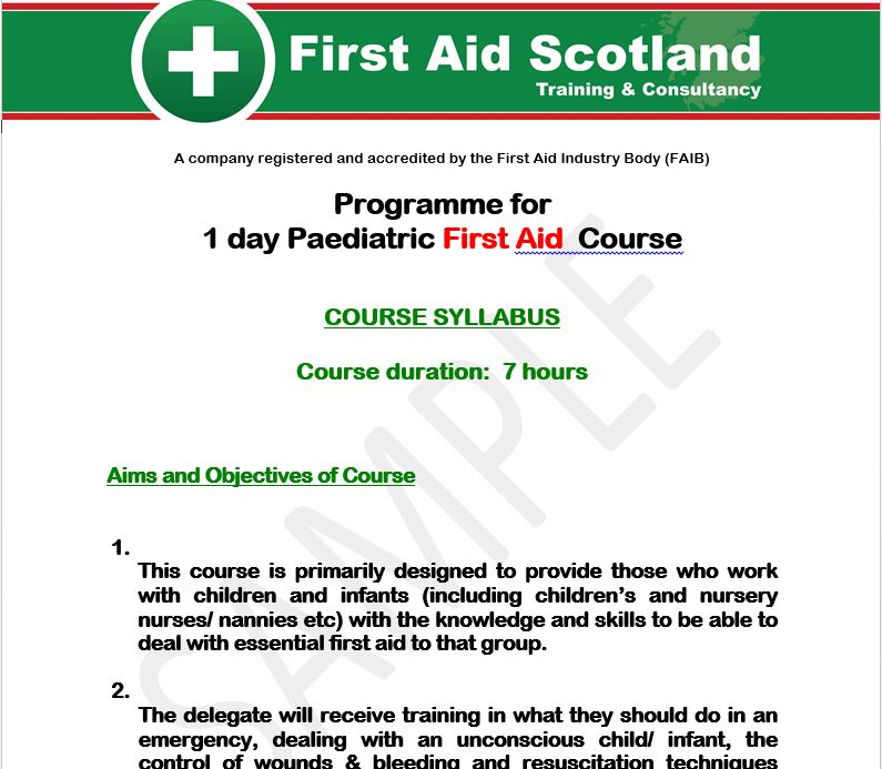 first aid course outline